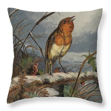 The Christmas Carol Singer Throw Pillow by Harrison William Weir