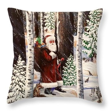 The Christmas Forest Visitor 2 Throw Pillow