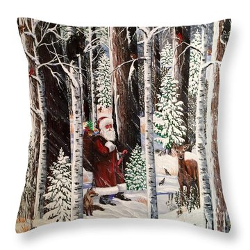 The Christmas Forest Visitor Throw Pillow