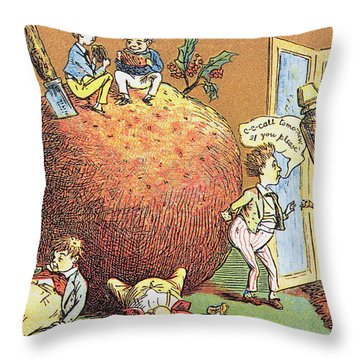 The Christmas Pudding A Victorian Christmas Card  Throw Pillow