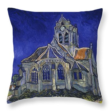 Throw Pillow featuring the painting The Church At Auvers by Van Gogh