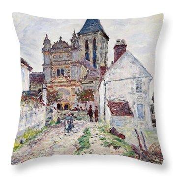 The Church At Vetheuil Throw Pillow