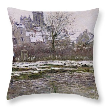 The Church At Vetheuil Under Snow Throw Pillow