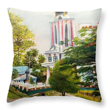 The Church In My Village Throw Pillow