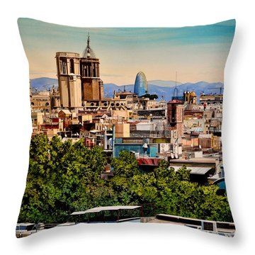 The Church's Of Barcelona Throw Pillow