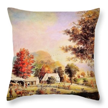 Throw Pillow featuring the painting The Cider Press - After Durrie by Lianne Schneider