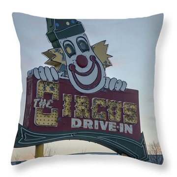 Throw Pillow featuring the photograph The Circus Drive In Sign Wall Township Nj by Terry DeLuco