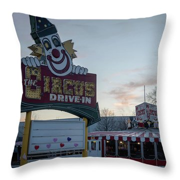 Throw Pillow featuring the photograph The Circus Drive In Wall Township Nj by Terry DeLuco