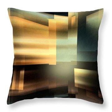 The City At Night Throw Pillow by John Krakora