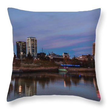 The City At Sunset Throw Pillow by Phillip Burrow