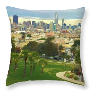 The City From Dolores Park Throw Pillow