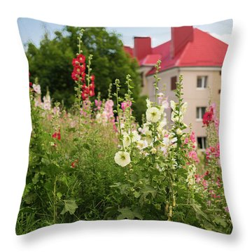 The City Is Smothered In Flowers Throw Pillow