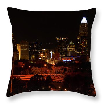 Throw Pillow featuring the digital art The City Of Charlotte Nc At Night by Chris Flees