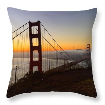 Bridge And Fog And City Throw Pillow by Eugene Evon