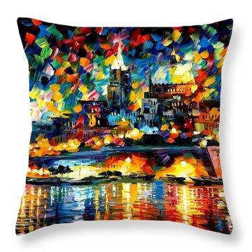 The City Of Valetta - Malta Throw Pillow by Leonid Afremov
