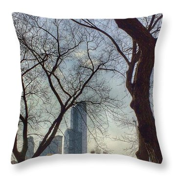 The City Through The Trees Throw Pillow