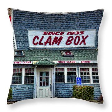 The Clam Box In Ipswich Throw Pillow by Nancy De Flon
