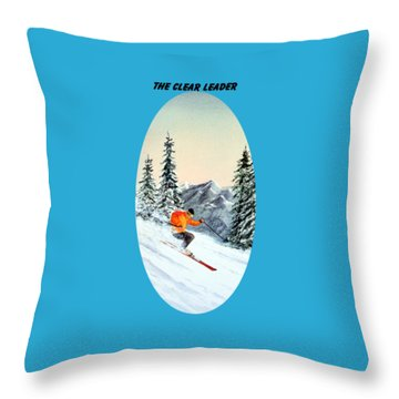 The Clear Leader Skiing Throw Pillow by Bill Holkham