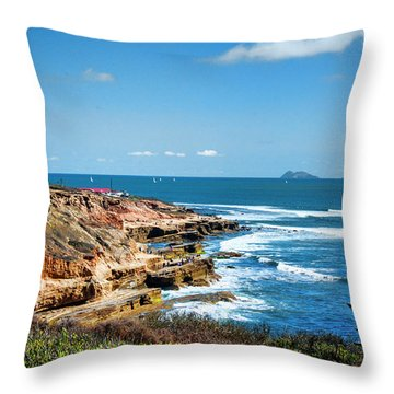 The Cliffs Of Point Loma Throw Pillow by Daniel Hebard