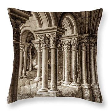 The Cloister Of Fontfroide Abbey Throw Pillow