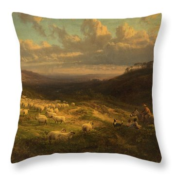 The Closing Day, Scene In Sussex Throw Pillow by George Vicat Cole