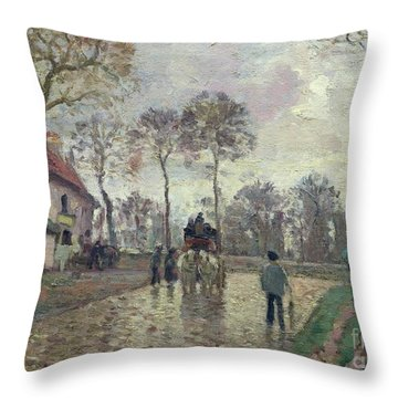 The Coach To Louveciennes Throw Pillow by Camille Pissarro