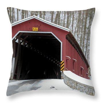 The Colemansville Covered Bridge In Winter Throw Pillow