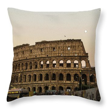 The Coliseum And The Full Moon Throw Pillow