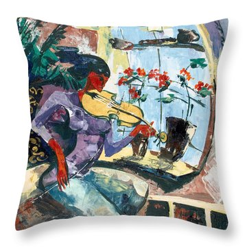 The Color Of Music Throw Pillow by Elisabeta Hermann