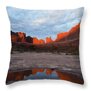 The Color Of Sunrise In Arches Throw Pillow