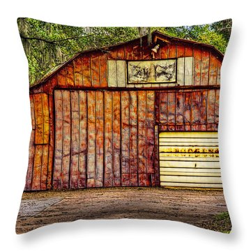 The Colorful Garage Throw Pillow