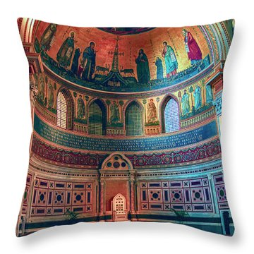 The Colorful Interior Of Roman Catholic Cathedral Throw Pillow