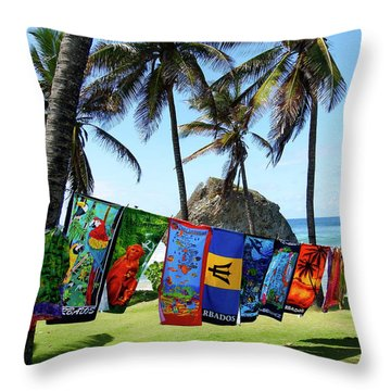 Throw Pillow featuring the photograph The Colors Of Barbados by Kurt Van Wagner