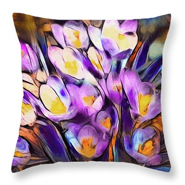 The Colors Of Crocus Throw Pillow