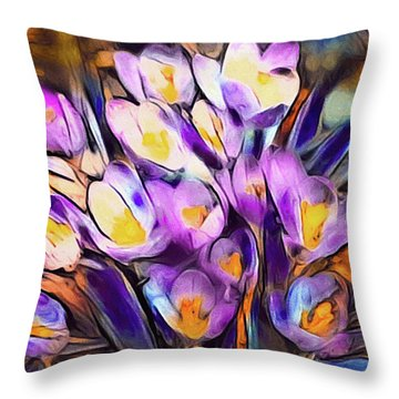 The Colors Of Crocus Throw Pillow