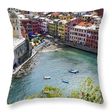 The Colors Of Vernazza Throw Pillow