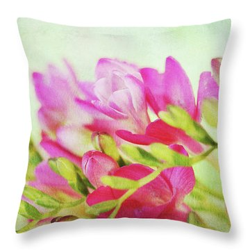 Throw Pillow featuring the photograph Colour Full Freesia by Connie Handscomb