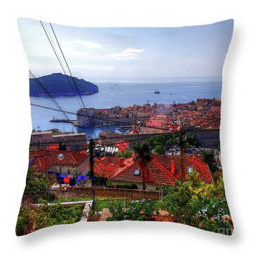 The Colourful City Of Dubrovnik Throw Pillow