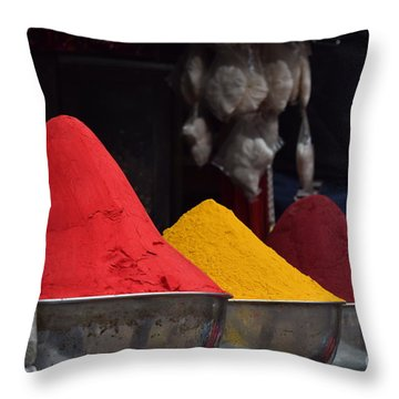 The Colours Of Holi Throw Pillow by Mini Arora
