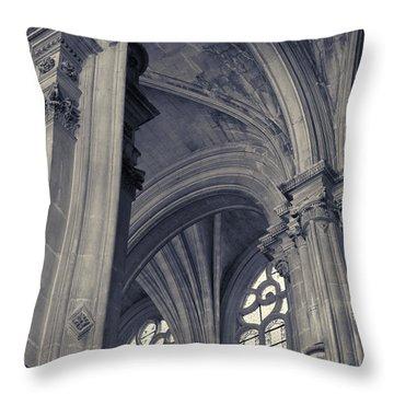The Columns Of Saint-eustache, Paris, France. Throw Pillow by Richard Goodrich