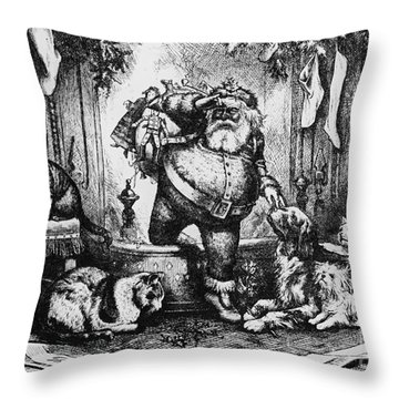 The Coming Of Santa Claus Throw Pillow