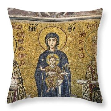 The Comnenus Mosaics In Hagia Sophia Throw Pillow by Ayhan Altun