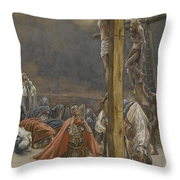 The Confession Of Saint Longinus Throw Pillow by Tissot