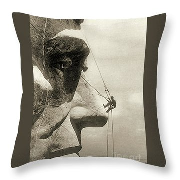 The Construction Of The Mount Rushmore National Memorial, Detail Of Abraham Lincoln,1928  Throw Pillow by American School