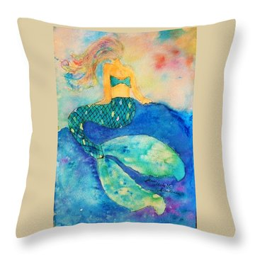 The Contemplation Of A Mermaid Throw Pillow