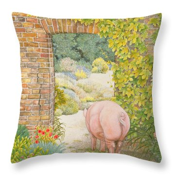 The Convent Garden Pig Throw Pillow by Ditz