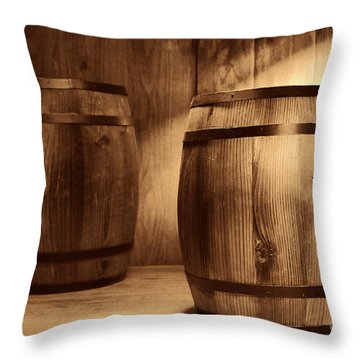 The Coopersmith Shop Throw Pillow by American West Legend By Olivier Le Queinec