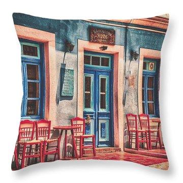 The Corner Cafe Throw Pillow