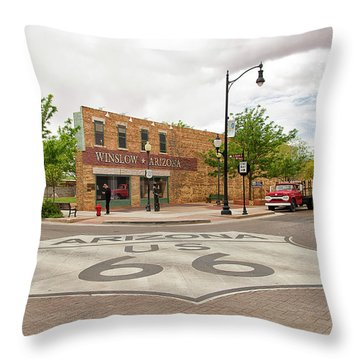 The Corner In Winslow Throw Pillow