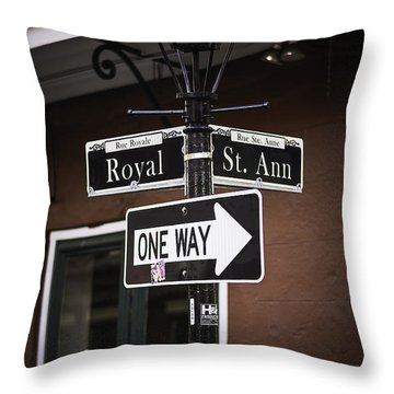 The Corner Of Royal And St. Ann, New Orleans, Louisiana Throw Pillow